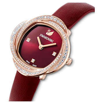 Crystal Flower Uhr, Lederarmband, Rot, Roségoldfarbenes PVD-Finish - Swarovski, 5552780