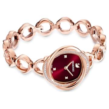 Crystal Flower óra, Fém karkötő, Piros, Rozéarany árnyalatú PVD bevonattal - Swarovski, 5552783