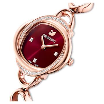 Ceas Crystal Flower, brățară de metal, roșu, nuanță de aur roz prin depunere fizică de vapori - Swarovski, 5552783