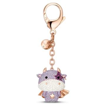 Zodiac Cow Handtaschen-Charm, violett, Rosé vergoldet - Swarovski, 5552795