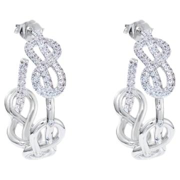 Knot of True Love Hoop Earrings, Swarovski Created Diamonds, 18K White Gold - Swarovski, 5553889