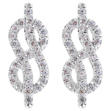 Knot of True Love Stud Earrings, Swarovski Created Diamonds, 18K White Gold - Swarovski, 5553890