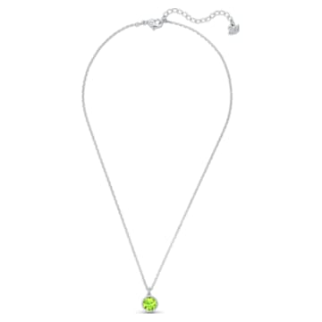 Birthstone medál, augusztus, zöld, ródium bevonattal - Swarovski, 5555790