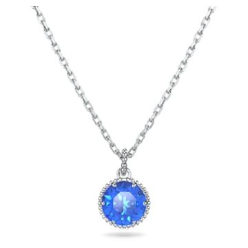 Birthstone 鏈墜, 九月, 藍色, 鍍白金色 - Swarovski, 5555793