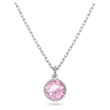Birthstone Pendant, October, Pink, Rhodium plated - Swarovski, 5555794