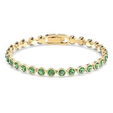 Braccialetto Tennis, Rotondo, Verde, Placcato color oro - Swarovski, 5555824
