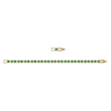 Tennis-armband, Groen, Goudkleurige toplaag - Swarovski, 5555824