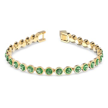 Tennis Bracelet, Green, Gold-tone plated - Swarovski, 5555824