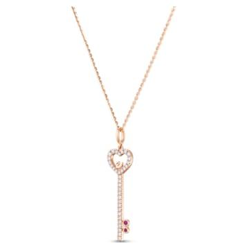 锁定我爱18K玫瑰金红宝石钻石链坠 - Swarovski, 5555948