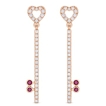 18K RG LockMyHeart Key Earrings (Ruby) - Swarovski, 5555951