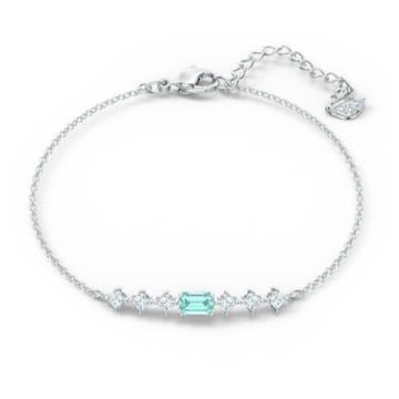 Attract Rectangular Armband, Blau, Rhodiniert - Swarovski, 5556732