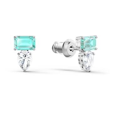 Attract Rectangular 穿孔耳環, 藍色, 鍍白金色 - Swarovski, 5556733