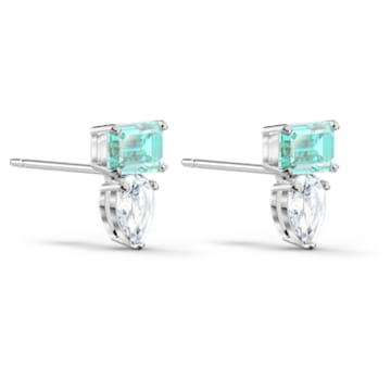 Attract Rectangular 穿孔耳環, 綠色, 鍍白金色 - Swarovski, 5556733
