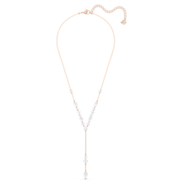 Attract Y Necklace, White, Rose-gold tone plated - Swarovski, 5556911