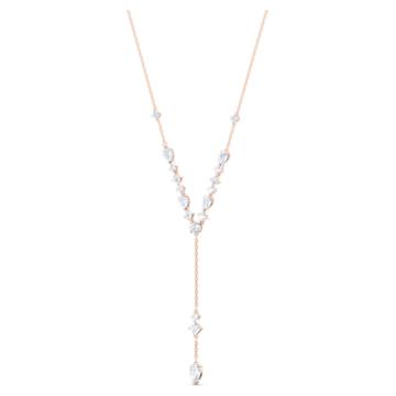 Colier Attract Y, alb, placat în nuanțe de aur roz - Swarovski, 5556911