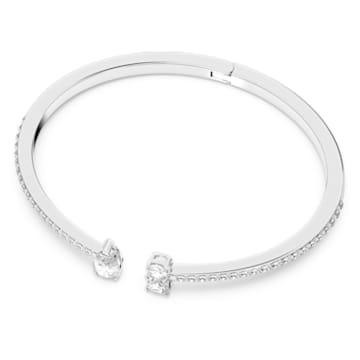 Attract-brede armband, Wit, Rodium-verguld - Swarovski, 5556912