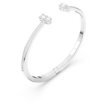 Attract Cuff, White, Rhodium plated - Swarovski, 5556912