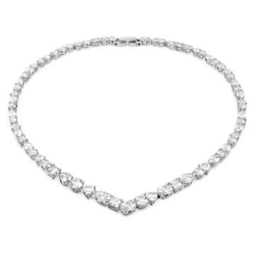 Tennis Deluxe Halskette, Kristalle in einem Mix aus Schliffen, Weiss, Rhodiniert - Swarovski, 5556917