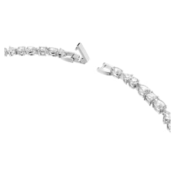 Tennis Deluxe necklace, Mixed crystals cut, White, Rhodium plated - Swarovski, 5556917