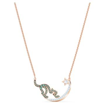 Cattitude Necklace, Green, Mixed metal finish - Swarovski, 5558175