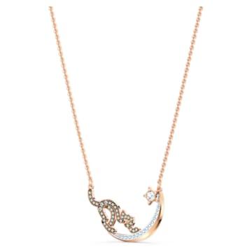 Cattitude 項鏈, 貓和月亮, 漸層色, 多種金屬潤飾 - Swarovski, 5558175