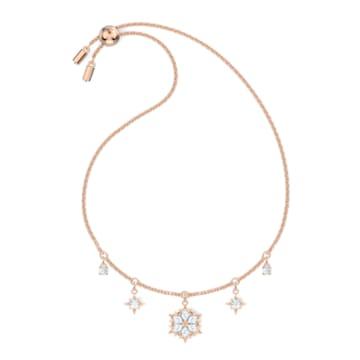 Pulsera Magic, Copo de nieve, Blanco, Baño tono oro Rosa - Swarovski, 5558186