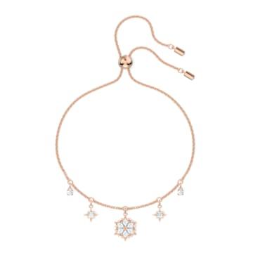 Braccialetto Magic, Fiocco Di Neve, Bianco, Placcato color oro rosa - Swarovski, 5558186