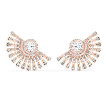 Τρυπητά σκουλαρίκια Swarovski Sparkling Dance Dial Up, γκρίζο, επιχρυσωμένο με ροζ χρυσό - Swarovski, 5558190