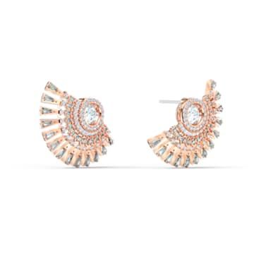 Swarovski Sparkling Dance Dial Up Pierced Earrings, Grey, Rose-gold tone plated - Swarovski, 5558190