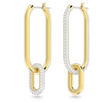 Argolas para orelhas furadas Time, brancas, acabamento em vários metais - Swarovski, 5558341