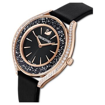 Reloj Crystalline Aura, correa de piel, negro, PVD tono oro rosa - Swarovski, 5558634
