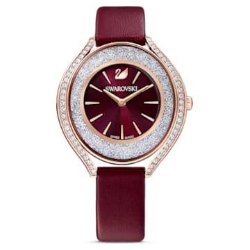 Orologio Crystalline Aura, cinturino in pelle, rosso, PVD oro rosa - Swarovski, 5558637