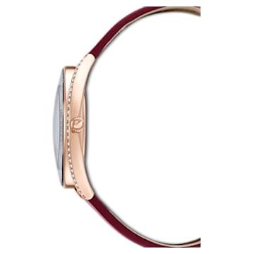 Hodinky Crystalline Aura s koženým páskem, červené, PVD v odstínu růžového zlata - Swarovski, 5558637