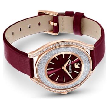 Crystalline Aura karóra, bőrszíj, piros, rozéarany árnyalatú PVD - Swarovski, 5558637