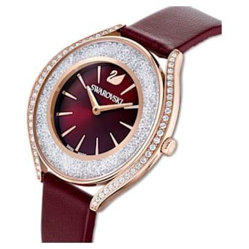 Crystalline Aura Uhr, Lederarmband, rot, rosé vergoldetes PVD-Finish - Swarovski, 5558637