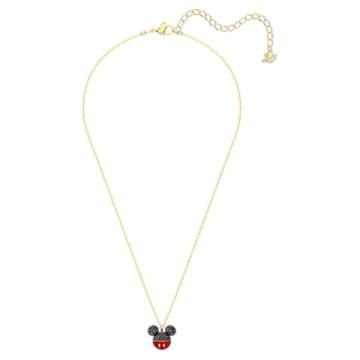 Mickey 链坠, 黑色, 镀金色调 - Swarovski, 5559176
