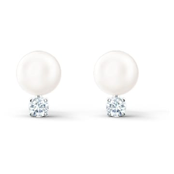 Treasure Pearl 穿孔耳環, 白色, 鍍白金色 - Swarovski, 5559420