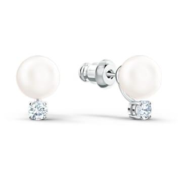 Orecchini Treasure Pearl, bianco, placcato rodio - Swarovski, 5559420