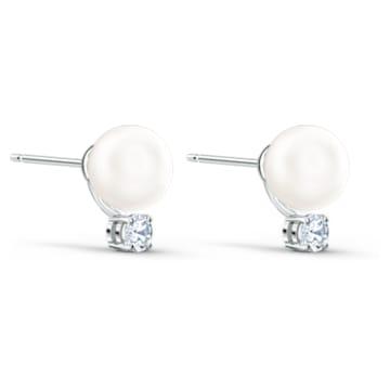 Τρυπητά σκουλαρίκια Treasure Pearl, λευκά, επιροδιωμένα - Swarovski, 5559420