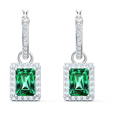 Angelic-rechthoekige steekoorbellen, Groen, Rodium-verguld - Swarovski, 5559834