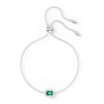Angelic-rechthoekige armband, Groen, Rodium-verguld - Swarovski, 5559836
