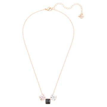 Glance necklace, Multicolored, Rose-gold tone plated - Swarovski, 5559862