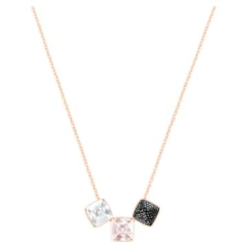 Glance Necklace, Light multi-coloured, Rose-gold tone plated - Swarovski, 5559862