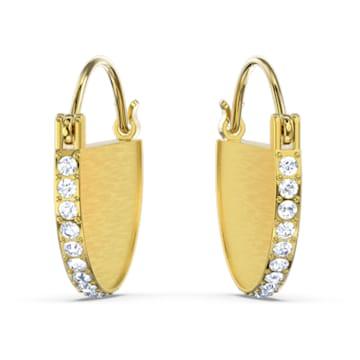 Τρυπητά σκουλαρίκια κρίκοι Ginger, λευκά, επιχρυσωμένα με ροζ χρυσό - Swarovski, 5560492