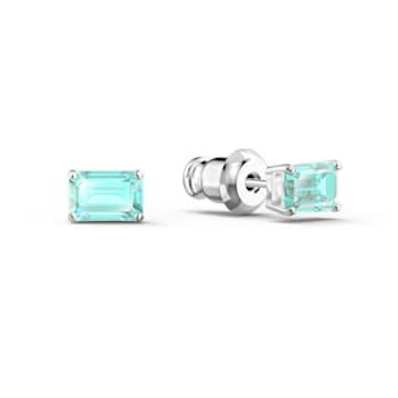 Attract Rectangular 套装, 蓝色, 镀铑 - Swarovski, 5560556