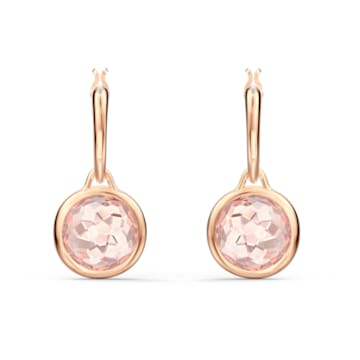 Τρυπητά σκουλαρίκια με μίνι κρίκο Tahlia, ροζ, επιχρυσωμένα με ροζ χρυσό - Swarovski, 5560932