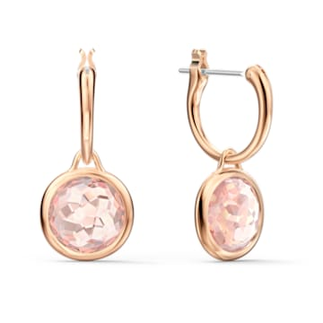 Tahlia Mini Hoop Pierced Earrings, Pink, Rose-gold tone plated - Swarovski, 5560932