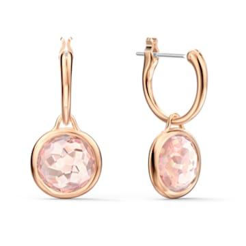 Thalia bedugós mini karika fülbevaló, rózsaszín, rozéarany árnyalatú bevonattal - Swarovski, 5560932