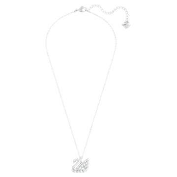 Swan Lake 链坠, 天鹅, 白色, 镀铑 - Swarovski, 5561477