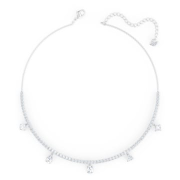 Tennis Deluxe Mixed Choker, White, Rhodium plated - Swarovski, 5562084